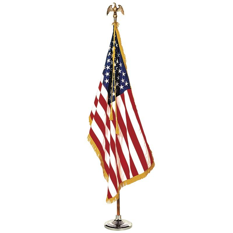 COMPLETE MOUNTED US FLAG SET 3X5  8 FT POLE