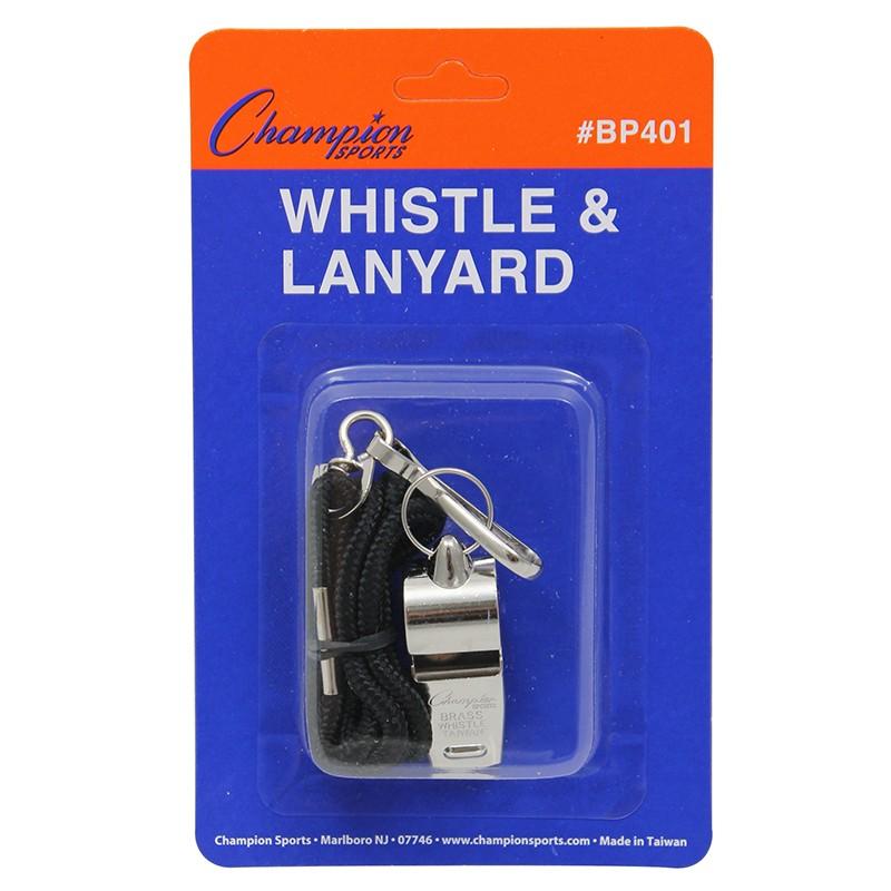 METAL WHISTLE AND LANYARD
