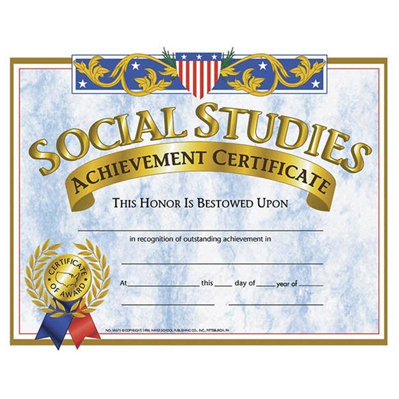 Certificates Social Studies 30pk 85 X 11 National School Supply