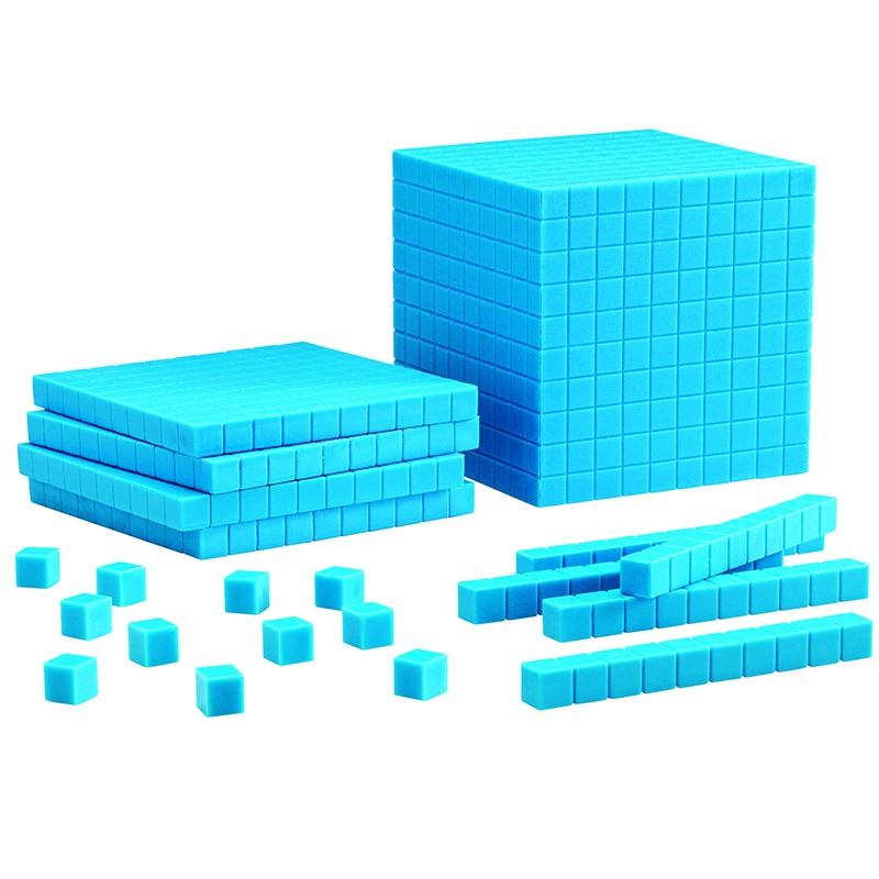 BASE TEN STARTER SET PLASTIC BLUE  100 UNITS 30 RODS 10 FLATS 1 CUBE