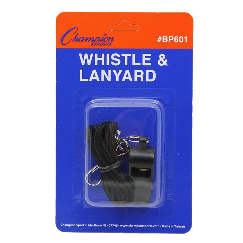 (20 EA) PLASTIC WHISTLE AND LANYARD