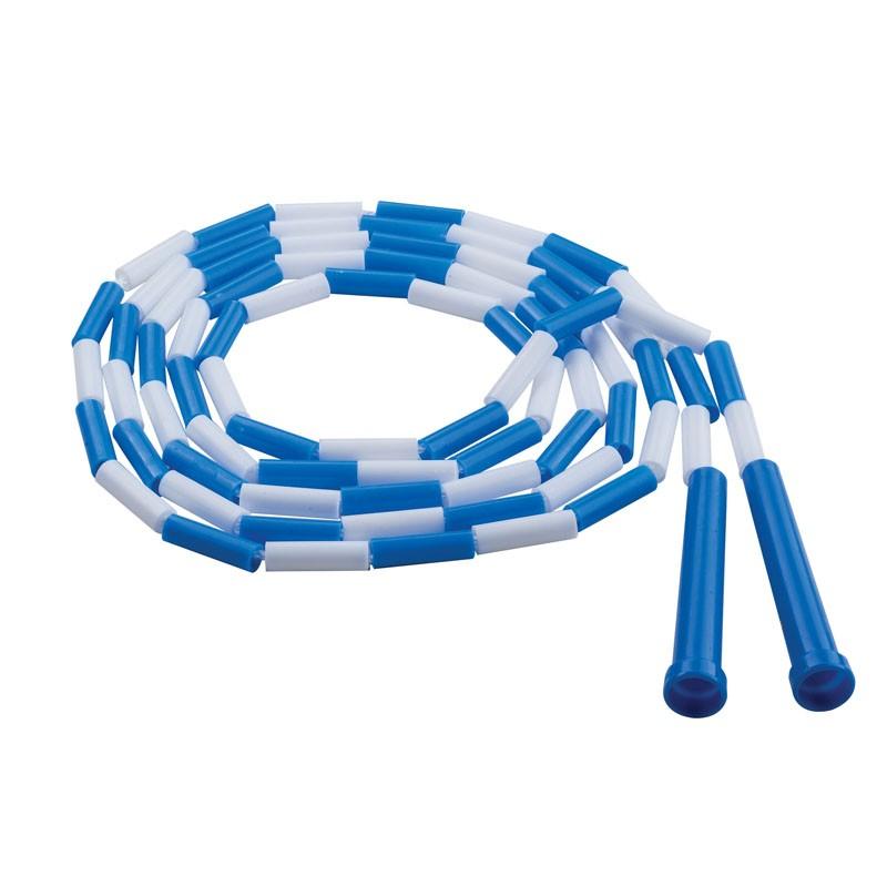 PLASTIC JUMP ROPE BLUE WHITE  SEGMENTED 9FT