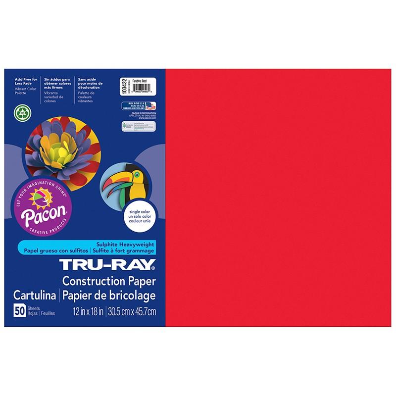 TRU RAY 12 X 18 FESTIVE RED 50 SHT  CONSTRUCTION PAPER